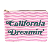 Blue Island Califorina Dreamin' Straw Clutch Bag Zip Pouch