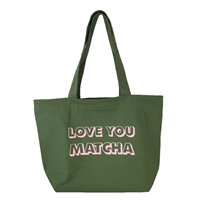 Love You Matcha Large Canvas Eco Friendly Tote