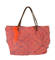 New Look Abstract Geo Print Fringe Tote