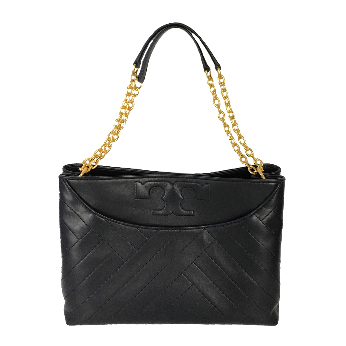 685141932d Tory Burch Alexa Leather Center Zip Slouchy Tote, Black