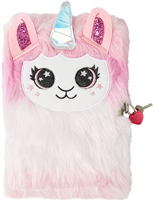 Lilly Llama Unicorn Fuzzy Faux Fur Jouranl Diary with Lock
