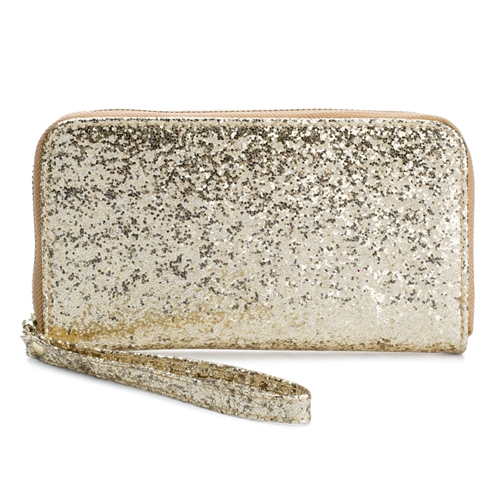 Glittering Tech Wristlet Wallet w Charging Power Bank