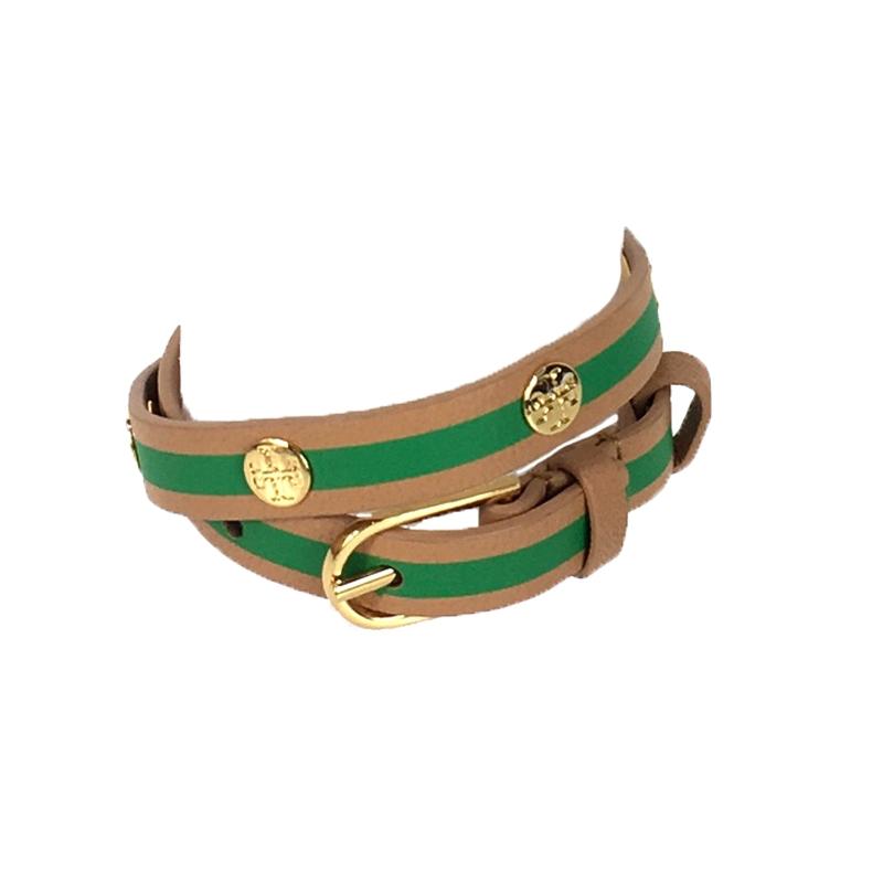 Tory Burch Striped T Logo Stud Double Wrap Bracelet Vachetta Court Green