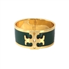 Tory Burch T Raised Logo Enamel Wide Hinged Cuff Bracelet