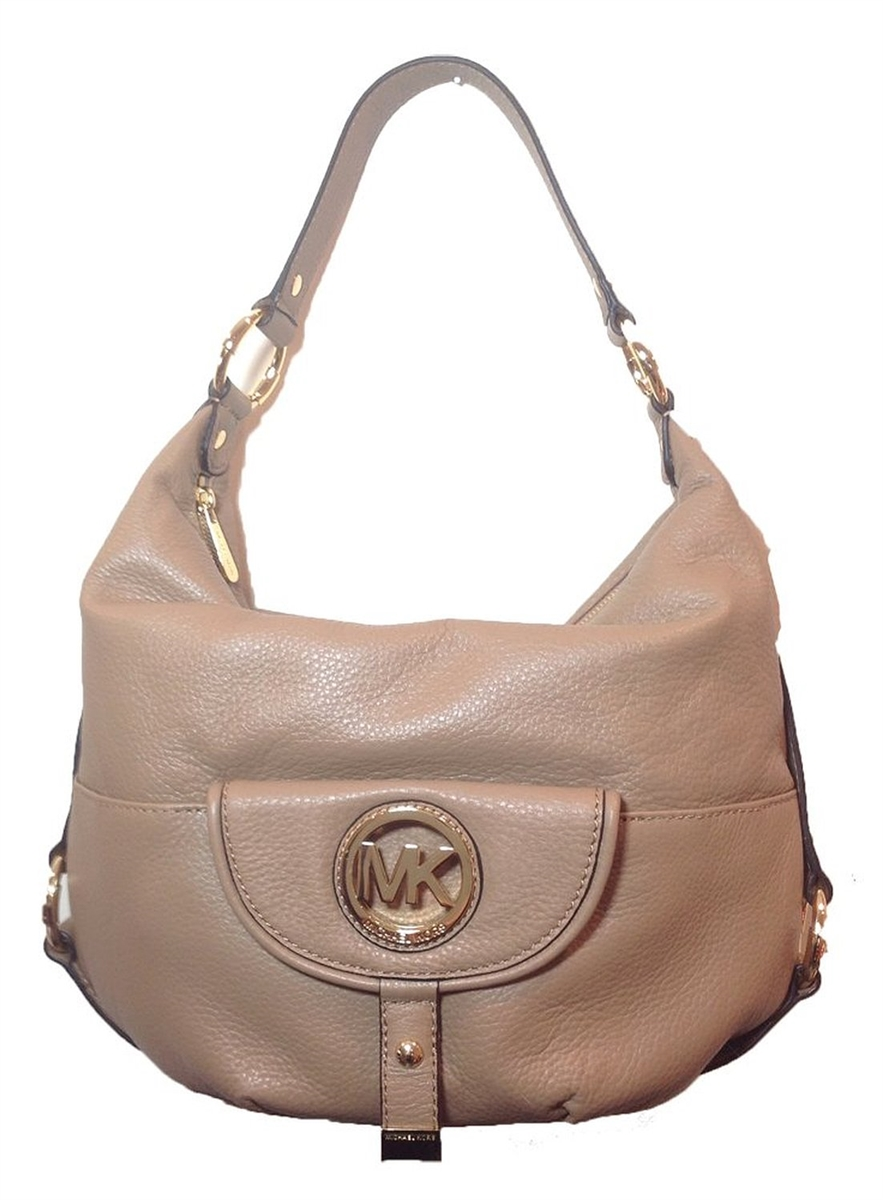 5df7e547ed71 Michael Kors Fulton Large Leather Shoulder Bag, Khaki (Dune)