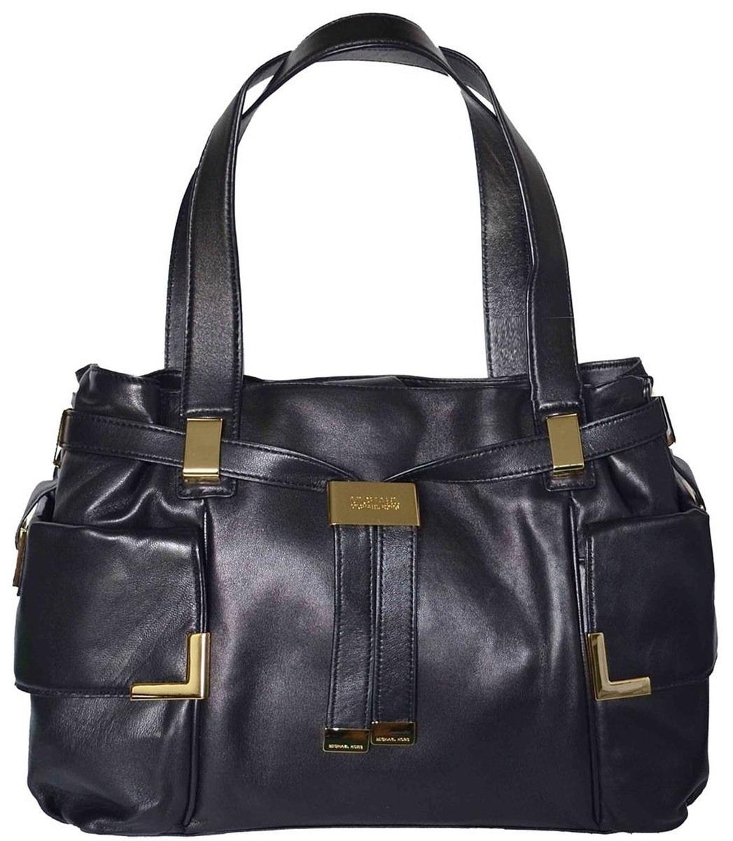 26695f2f97fc66 Michael Kors Beverly Large Leather Drawstring Satchel, Black