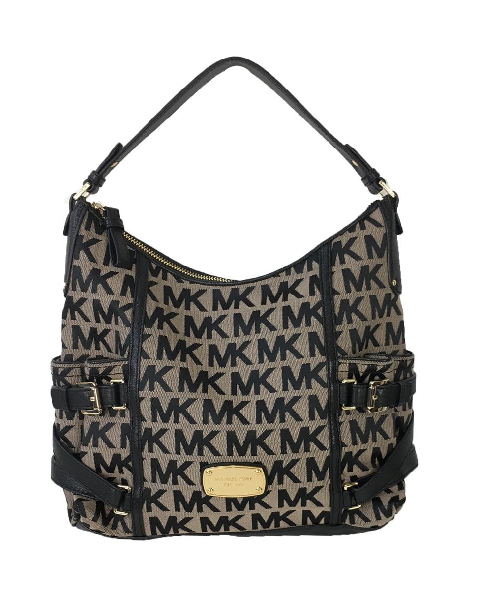 c17c8f1ce1f1a8 Michael Kors Gansevoort Jacquard Large Top Zip Shoulder Bag,  Beige/Black/Black