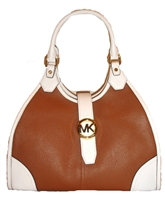 Michael Kors Hudson Large Two-Tone Leather Tote