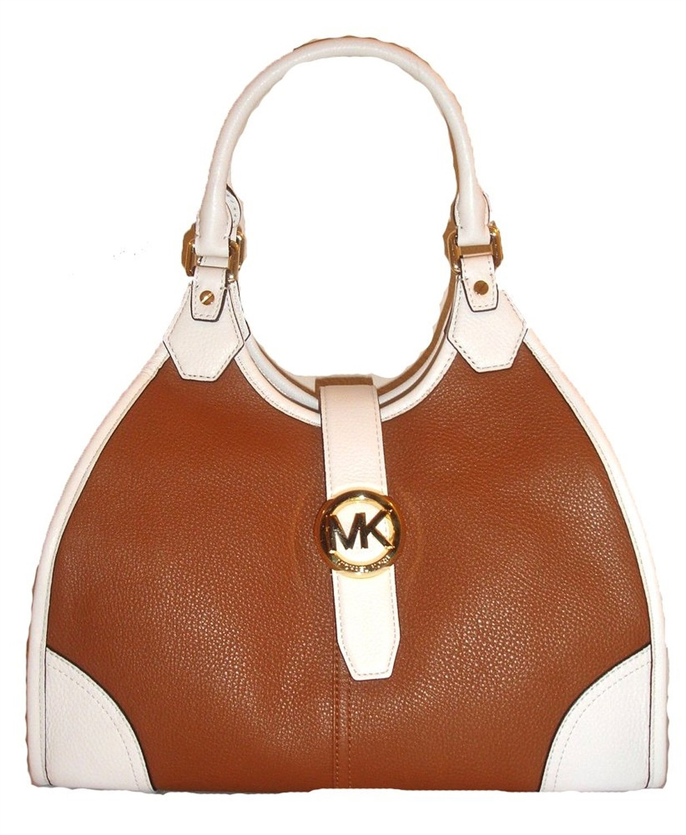 Michael Kors Hudson Large Two Tone Leather Shoulder Tote Luggage Optic White
