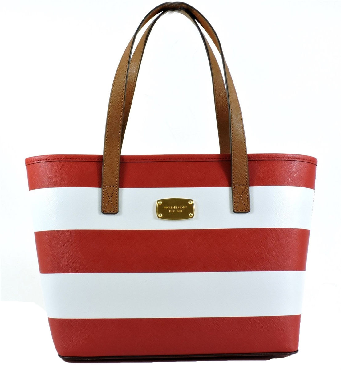 656d0060336e Michael Kors Jet Set Travel Stripe Saffiano Leather Small Tote
