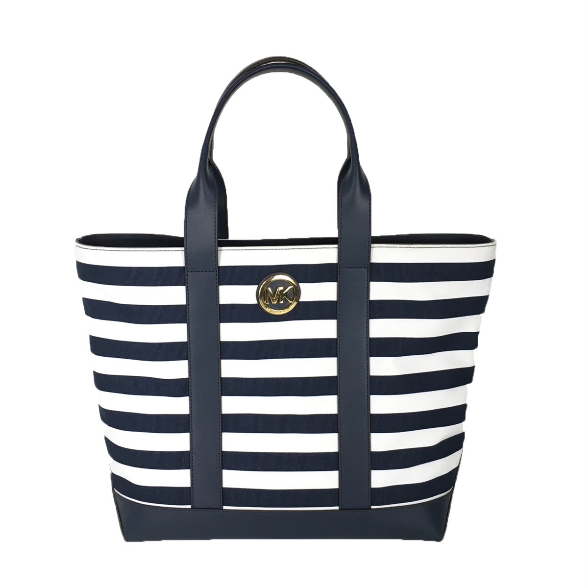 a0ddca61e42e Michael Kors Fulton Striped Canvas Large Tote, Navy/White