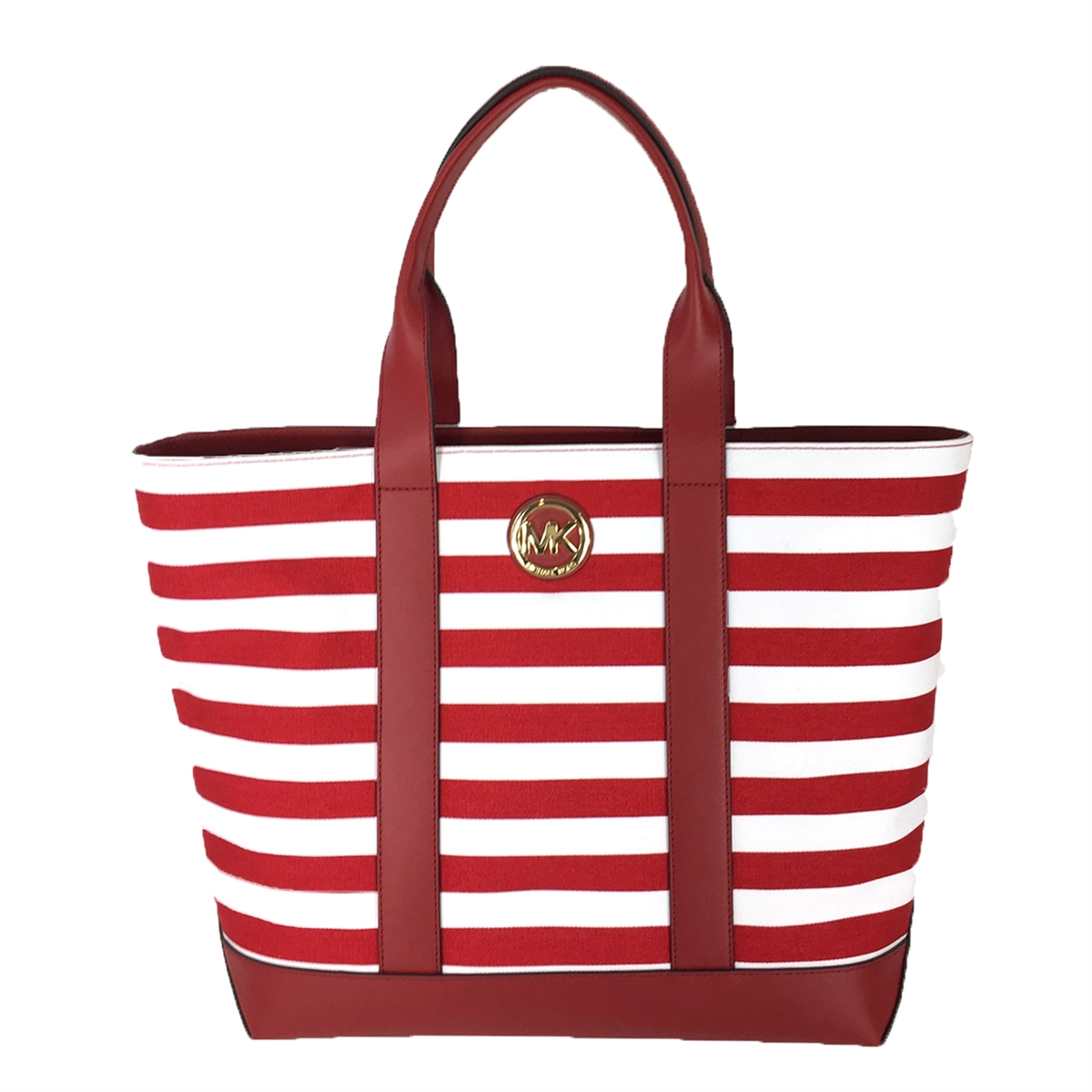 Michael Kors Fulton Striped Canvas Large Tote, Red White f67ab11eaa