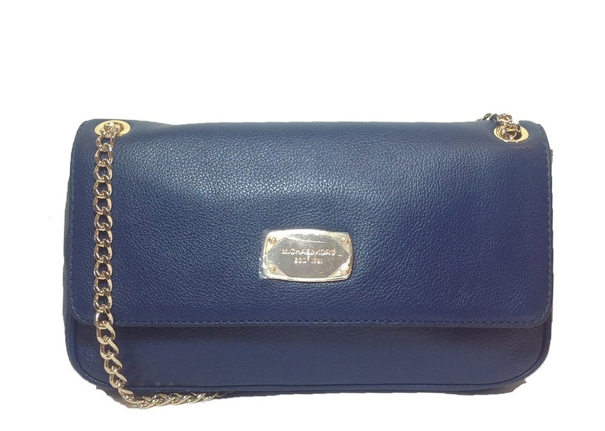 8dc771c89061 Michael Kors Jet Set Chain Leather Small Shoulder Flap Bag, Navy