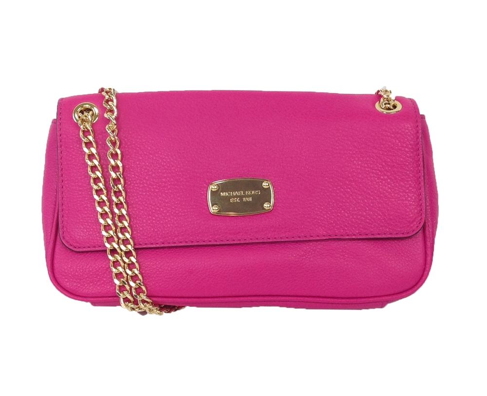 448a0d2ea731 Michael Kors Jet Set Chain Leather Small Shoulder Flap Bag, Raspberry