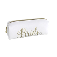 Bride Gold Script Rectangular Zip Cosmetic Case