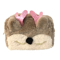 Reindeer 3D Fuzzy Rectangular Zip Cosmetic Case