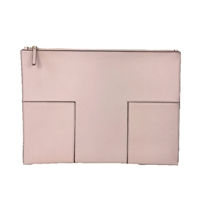 Tory Burch Block-T Leather Clutch Large Travel Pouch
