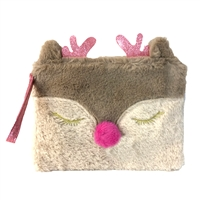 Reindeer Light Up Fuzzy Faux Fur Wristlet