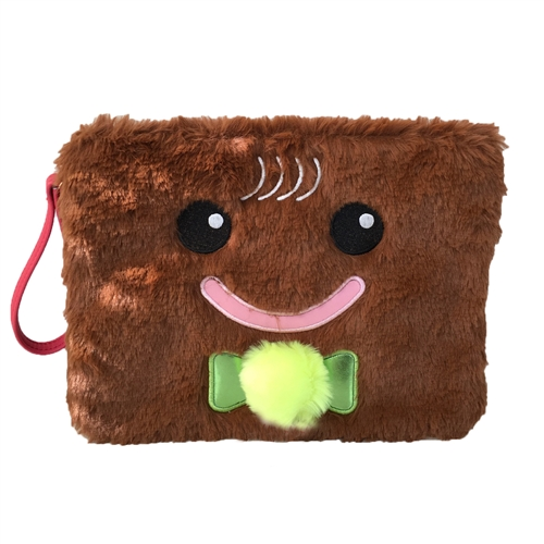 Gingerbread Man Light Up Fuzzy Faux Fur Wristlet