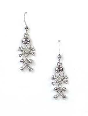 Skull & Cross Bones Drop Earrings