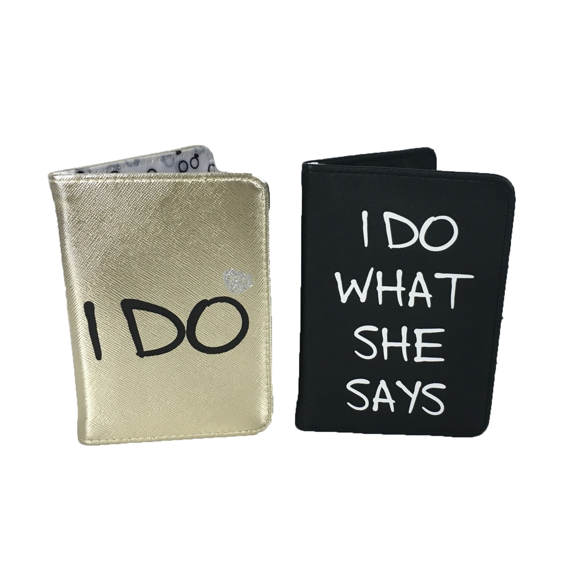92203421e6be Fashion Culture I Do Passport Holder His & Her Set of 2, Black Gold