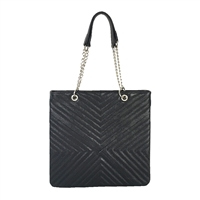 Zenith Chevron Quilted Leather Slim Tote
