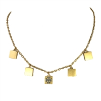 Tory Burch Block-T Logo Charm Collar Necklace