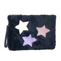 Twilight Stars Soft Faux Fur Wristlet Zip Pouch