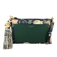 Tory Burch Floral Leather Tassel Clutch Crossbody
