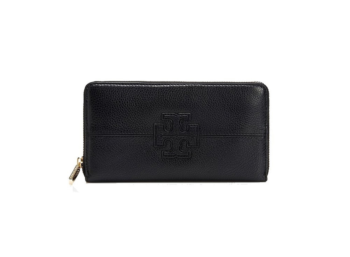 acf350c2be Tory Burch Stacked T Leather Zip Around Continental Wallet, Black