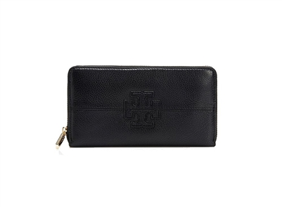 Tory Burch Stacked T Leather Zip Around Wallet