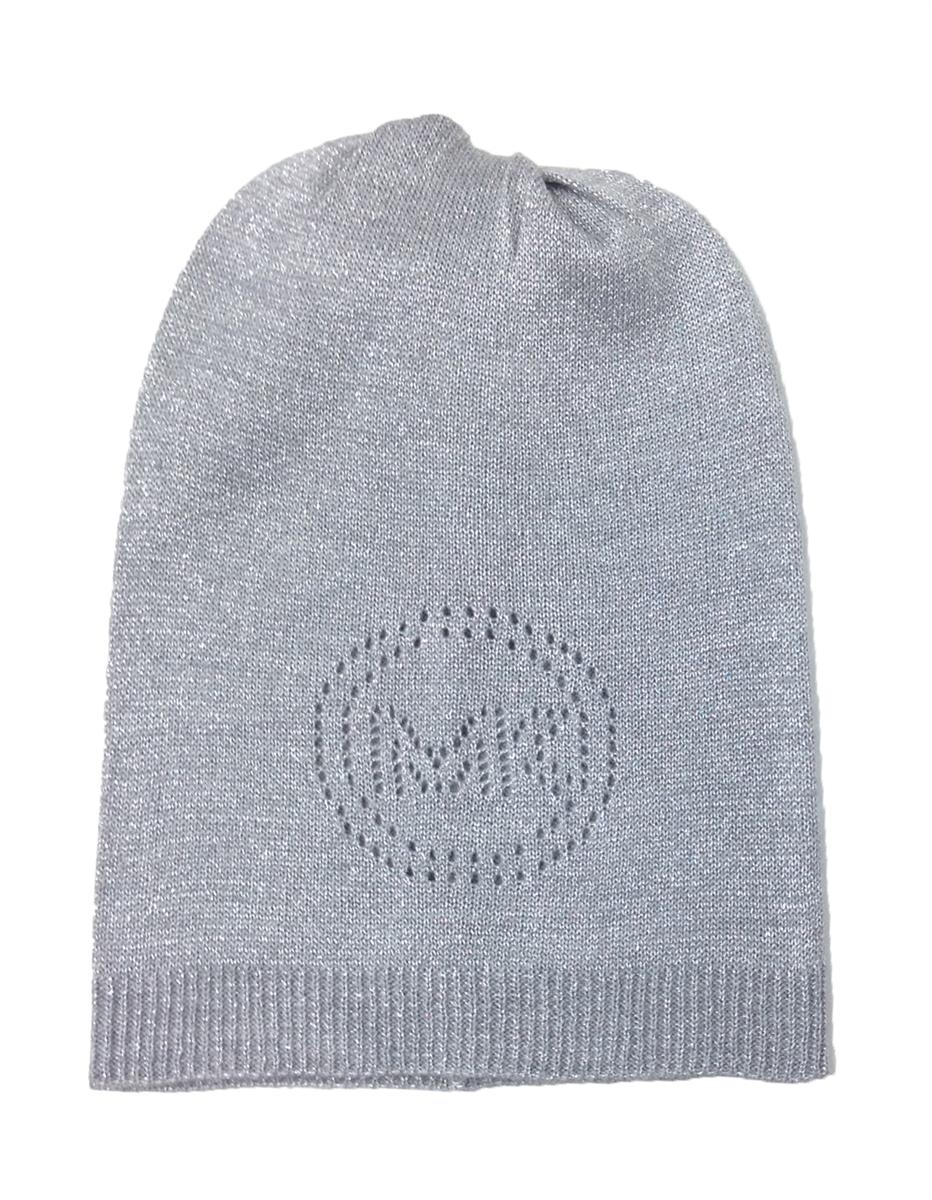 Michael Kors Sparkle Perforated Lurex Oversized Logo Hat c11e5bf815f