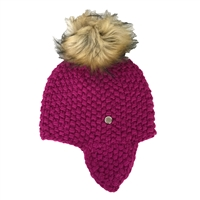 Michael Kors Seed Stitch Trapper Hat w Faux Fur Pom Pom
