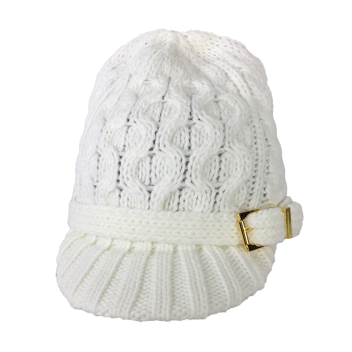0326312708 Michael Kors Women s Cable Knit Brimmed Beanie Newsboy Hat ...