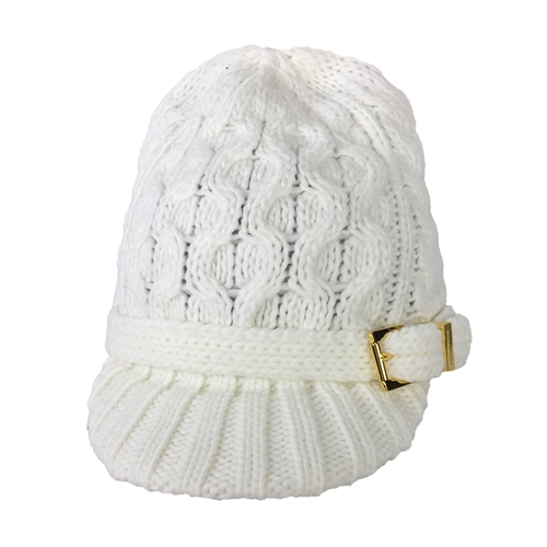 Michael Kors Cable Knit Brimmed Beanie Newsboy Hat