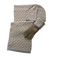 Michael Kors MK Repeat Logo Scarf, Hat & Gloves 3 Piece Set