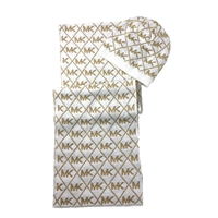 Michael Kors Metallic MK Diamond Logo Scarf & Hat Set