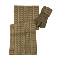 Michael Kors Metallic MK Repeat Logo Scarf & Knit Gloves Set