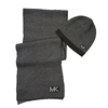 Michael Kors Metallic Chevron MK Block Logo Scarf & Beanie Hat Set