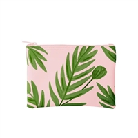 TOOT Buds Palm Print Vegan Leather Zip Pouch Cosmetic Case