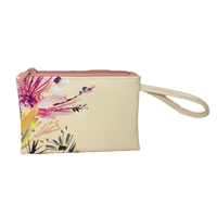 Paradise Floral Watercolor Vegan Leather To Go Wristlet