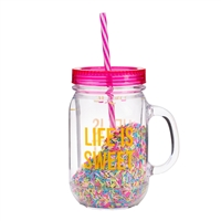 Life Is Sweet BPA Free Sprinkles Mason Jar Travel Cup