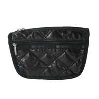 LeSportsac Travel Cosmetic Case Black Crinkle Quilted