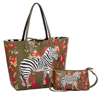 Sydney Love Safari Zebra Vegan Leather Reversible Tote & Wristlet Set