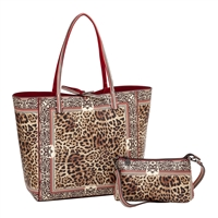 Sydney Love Leopard Vegan Leather Reversible Tote & Wristlet Set
