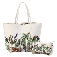 Sydney Love Jungle Print Vegan Leather Reversible Tote & Wristlet Set