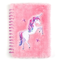 Unicorn Fuzzy Faux Fur Spiral Notebook