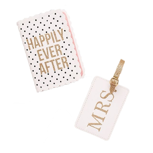 Happily Ever After Passport Holder & Mrs. Luggage Tag Travel Set