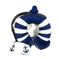 Nautical Anchor Neck Pillow, Eye Mask & Clear Travel Case Set