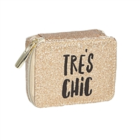 Tres Chic Zip Around Travel Pill Case Gold Glitter